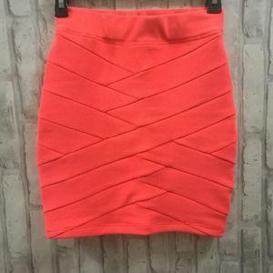 Dynamite Orange Bandage Mini Skirt
